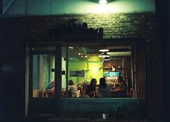 ... (june1777) Tags: snap street seoul seochon night light window cafe mamiya 645 sekor c 80mm f19 kodak portra 800 pro tl