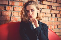 2661-2 (i.gorshkov) Tags: girl portrait fashion look female studio light color jeans jacket style hair indoor pretty posing people model cute interior blue sight eyes lips