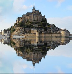 Reflections of Mont St Michel (big_jeff_leo) Tags: stmichaelsmount montstmichel france castle rock coast abbey monk stone walls towers medieval normandy history heritage ancient old column gothic tidal estuary unesco island