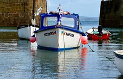 Mizpah (rustyruth1959) Tags: nikon nikond3200 tamron16300mm mizpah boat mousehole cornwall harbour port mooring vehicle vessel rope wall entrance water sea coast outdoor buoy outboard engine paint white blue red reflections ripples bow hull cuddy window stone mouseholeharbour