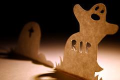 Wooooooo! (alutik) Tags: macromondays spookyandfrightful ghost scary halloween happyhalloweeen celebration seasonal canon d70 cemetery graveyard necropolis paper craft papercrafts tombstone light shadow
