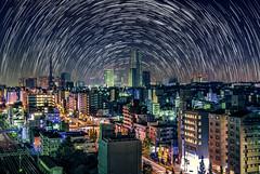 Star trails over Yokohama (Arutemu) Tags: japan japanese japonais japon japonesa japones japonaise iwamacho yokohama kanagawa city cityscape ciudad citylights view ville stars trails night nighttime nightscape nightshot nightview nightfall sky skyline