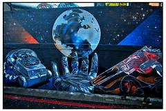 PROGRESS SHOT of STREET ART by FANAKAPAN (StockCarPete) Tags: fanakapan streetart londonstreetart wallart shoreditchart telephone gun globe spraycanart