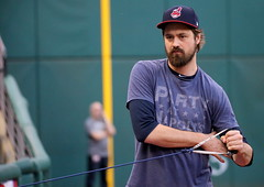 Indians reliever Andrew Miller stretches before Sunday's workout at Progressive Field. (apardavila) Tags: postseason wordseries andrewmiller baseball clevelandindians majorleaguebaseball mlb progressivefield sports worldseries