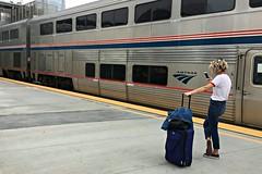 One Aboard! (Pedestrian Photographer) Tags: amtrak train blond blonde luggage jeans trains anaheim california ca platform artic ribbet