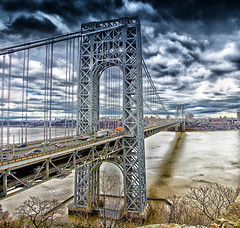 George Washington Bridge (Peter Smejkal) Tags: georgewashingtonbridge newyorkcity clouds hudson river traffic trucks bronx