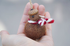 Needle felted kiwi bird ornament (noristudio3o) Tags: kiwi bird ornament holiday christmas figurine miniature gift handmade needle felting felted felt brown scarf acorn beret cap kawaii cute noristudio nori studio