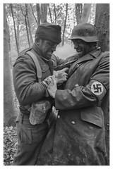 """53 (steiner2009 """"AKA Dr Dust """") Tags: filmsetstills movie ww2 soldier german death war smoke trees forest luger pistol blood actors swastika royalmarine helmet british germansoldierandbritishsoldier"""