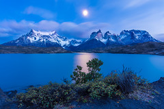 Dawn in Torres del Paine (inkasinclair) Tags: cuernos torres del paine patagonia south america chile mountains snow lago pehoe lake hosteria hotel blue moon stars sunrise dawn winter september landscape nature nikon d7200 reflection light blast