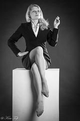 Back to the great Divas (Toftus Photography) Tags: pige jente woman female femme femelle femenino girl diva marlene dietrich beauty beautiful studio photostudio fotostudio light vakker sexy smuk bw blackandwhite sorthvit sh stockings legs