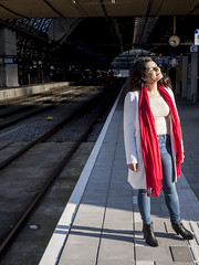 Nathalie, Amsterdam 2016: Basking in the autumn sun (mdiepraam (35 mln views)) Tags: nathalie amsterdam 2016 centraal station platform portrait pretty beautiful elegant dutch brunette girl naturalglamour scarf denim jeans boots