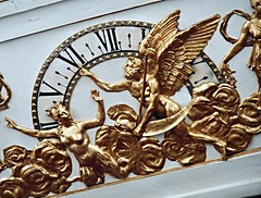 """The Siren Parthenope stops the winged Time, as old man with scythe"" - wooden and gilded bas-relief of the clock (year 1817) at Royal San Carlo Theatre in Naples (Carlo Raso) Tags: clock sancarlotheatre naples italy sirenparthenope"