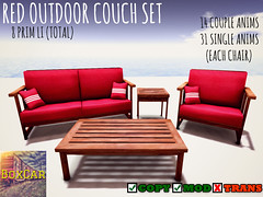 [BOXCAR] Red Outdoor Couch Set (Bigwon Resident) Tags: life red shopping store mesh outdoor furniture sl couch secondlife decorating second boxcar