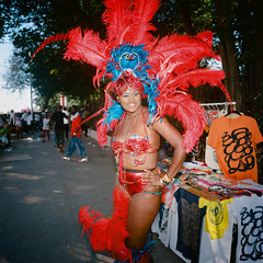 West Indian Day Parade (slightheadache) Tags: nyc newyorkcity party art mamiya film beautiful brooklyn analog women feathers celebration masquerade filmcamera westindian laborday 2015 masqueraders westindiandayparade mamiya6mf ektar100 brooklynian nycanalog