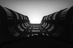 Wiggly (Panda1339) Tags: uk light blackandwhite building london art architecture barbican curved florincourt