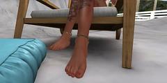 Foot Worship (Carla Putnam) Tags: red woman feet beach female fetish palms nude pie outdoors foot sand worship redhead sl secondlife mistress redhair domme footfetish domina dominant rednails maitreya footworship redpolish