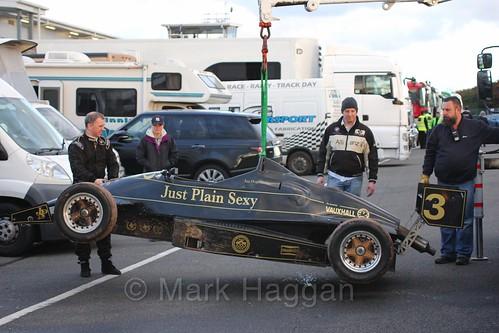 Ian Hughes car returns to the pits during the BRSCC Winter Raceday, Donington, 7th November 2015