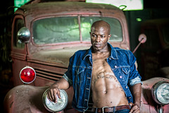 Black male model with old trucks (Robbie Cordero) Tags: male model africanamerican blackman beefcake physique oldtrucks blackmodel robertcordero