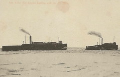 """SHIP Frankfort Elberta MI c.1910 AARR Railroad Steamer Car Ferry Fleet off Frankfort Harbor Home for the Fleet on Betsie Bay Winter Issues prevent passage to docks Photographer UNK Ann Arbor Railroad1 (UpNorth Memories - Donald (Don) Harrison) Tags: travel usa heritage history tourism st vintage antique michigan postcard memories restaurants hotels trailer roadside upnorth steamship cafes excursion attractions motels mackinac cottages cabins campgrounds city"""" bridge"""" island"""" """"car upnorthmemories rppc wonders"""" """"big """"railroad """"michigan memories"""" mac"""" """"state parks"""" entertainment"""" """"natural harrison"""" """"roadside ferry"""" """"travel """"don """"tourist """"mackinaw puremichigan stops"""" """"upnorth straits"""" ignace"""""""