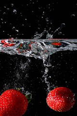 Strawberry duo. (padge83) Tags: nikon d5300 strawberries water pair splash macro red westyorkshire