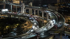 Timelapse of Shanghai traffic at night (HIKARU Pan) Tags: video timelapsevideo timelapse shanghai china asia chinese 50l canonef50mmf12lusm 1dx eos1dx nanpubridge night nightscape city cityscape aerialview traffic cars