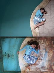 Coeur abm (Cena Way) Tags: portrait diptyque piscine surimpression intrieur bleu solitude rve eau plonge couleur graffiti corps
