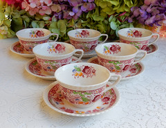 Johnson Brothers Porcelain Cups & Saucers ~ Winchester ~ Floral (Donna's Collectables) Tags: johnson brothers porcelain cups saucers ~ winchester floral thanksgiving christmas
