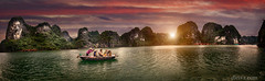 Halong Bay sunset, Vietnam (dleiva) Tags: sunset boat sun panorama see dleiva domingo leiva nature landscape panoramic dusk sky vietnam halong bay beauty horizontal hanoi day limestone exploration color image adventure north journey capital cities igniting nautical vessel water