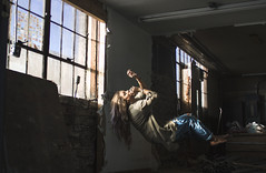 04 - Embracing (nikaylasnyder) Tags: levitation levitate float light windows abandoned building love jeans ripped flowy long hair fabric hiding darkness shadows shadow curious ecstasy jesus christ god catholic