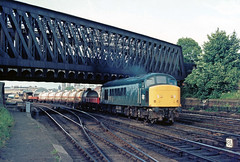 At the time always something goin on in York station.... and you were able to gain access to this area beneath Holgate bridge....45065 Haverton Hill-Ellesmere Port Holgate York 13-07-1981 (the.chair) Tags: 45065 haverton hillellesmere port york holgate july 1981