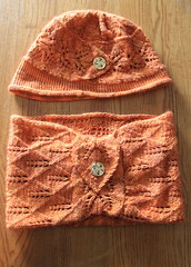 Virginia City Cloche and Cowl (ChaucerCat) Tags: knit knitting yarn ravelry cloche cowl romi hat scarf lace button leaves orange