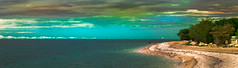 beach (Pino Snorr) Tags: sky water beach croatia kroatien sand wife color colors couple red blue green sun sunset