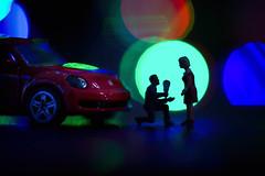 Love Bug - Macro Mondays- Beatles/Beetles (cuppyuppycake) Tags: macro mondays love bug beetle beatle christmas lights silhouette propose marriage toy miniature roses romantic vw volkswagen