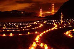 San Francisco Labyrinth Night (勇 YoungAdventure) Tags: san francisco サンフランシスコ 샌프란 시스코 舊金山 nikkor50mmf2 nikkorhauto50mmf2 sunset museum joy candlelit labyrinth night festival light black friday baker beach golden gate bridge mt