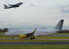 EC-MAI Airbus A320 of Vueling Airlines (SteveDHall) Tags: aircraft airport aviation airfield aerodrome aeroplane airplane airliner airliners airbus a320 airbusa320 manchester manchesterairport 2016 ringway vueling vuelingairlines ecmai