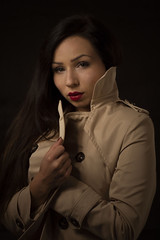That beige trench... (mariettakui) Tags: portrait portraitphotography womanportraiture woman portraitdefemme continouslighting lumierecontinue portraiture