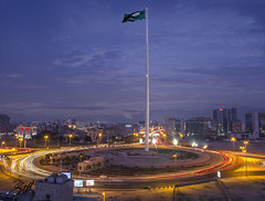 FlagPole - Jeddah (sidd_photography) Tags: sky landscape city sunset street buildings car vintage architecture lights motion road pole lightning landscapes sundown dawn long exposure world flagpole dusk landmark architectural flag view from above saudi arabia jeddah tallest lightrails flagpolejeddah