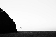 The big dive (in explore) (Chrif Benabid) Tags: silhouette sea action monochrome people man light black white photography blackandwhitephotography outdoors beach swimmer plunge