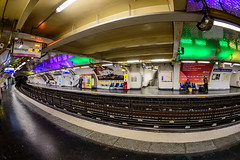 A Very Fishy Perspective.... (Aleem Yousaf) Tags: indoor underground fisheye perspective paris metro system commuters platform france barbes rochechouart 16mm prime lens nikon d800 photo walk