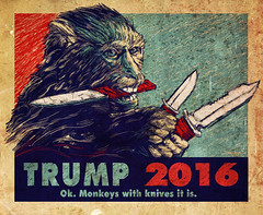 Ok. Monkeys With Knives It Is. (The Searcher) Tags: derek chatwood poprelics art illustration sketch drawing ink color painting monkey monkeys knives donald trump president election elect whathavewedone