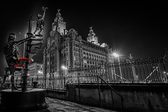 Liverpool Blitz Memorial Sculpted by Tom Murphy (Graham Peers) Tags: long exposure history sculpture memorial church liver building liverpool blitz bombings monochrome black white selective colour poppies red night nightscape landscape architecture north west gpphotography16