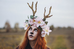 Out of the woods (Enrico Cavallarin) Tags: fawn deer queen flowerpower flowercrown crown outside makeup creativity fairytale portrait portraiture redhead magic