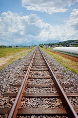 JR Furano Line (Gai) Tags:    nakafurano hokkaido japan   summer      blue sky  cloud  railway