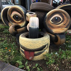 Monkey magic! (Munki Munki) Tags: seaham countydurham tyreart tyres rubber paint monkey monkeymagic chimp fabpaintjob camouflage