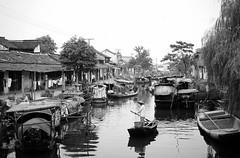 Water village (Frhtau) Tags: china xuchang water way village boat boot man river canal kanal sloot dorf