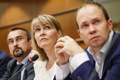 Pavel Poc and Christel Schaldemose, MEPs, and Barry Lynham, FSEU