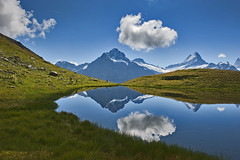 Hiking in Switzerland ; Grindelwald , First , above Bachsee . No. 8802. (Izakigur) Tags: swiss schweiz reflection grindelwald first alps alpes helvetia myswitzerland water glacier summer nikon nikkor nikond700 hiking alpi alpen lac lake suisse 2015 iamamountain flickr izakigur green wasser eau samsmith nature feel friends snow grass climbeeverymountain bachsee svizzera lepetitprince thelittleprince musictoyoureyes topf25 topf300 bachalpsee switzerland acqua