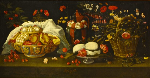 Still life with sweets, flowers, cheeses and broad bean in a basket ( 1678 ) Josepha de Óbidos ( 1630 - 1684)