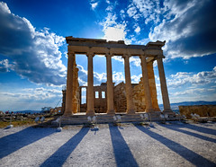 Erechtheion at the Acropolis in Athens, Greece (` Toshio ') Tags: sun clouds greek temple ancient europe european shadows athens greece acropolis europeanunion greektemple erechtheion toshio xe2 fujixe2