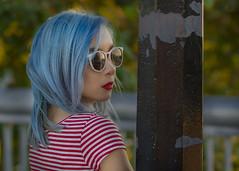Nicole (micadew) Tags: blue portrait urban beautiful beauty portraits interesting streetphotography streetportrait bluehair beautifulgirl urbanscene interestingfaces urbanportrait urbanshots micadew interestingmicadew